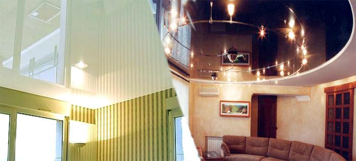 стильные натяжные потолки фото